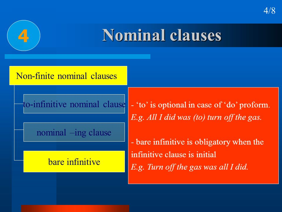 4 Nominal clauses 4/8 Non-finite nominal clauses