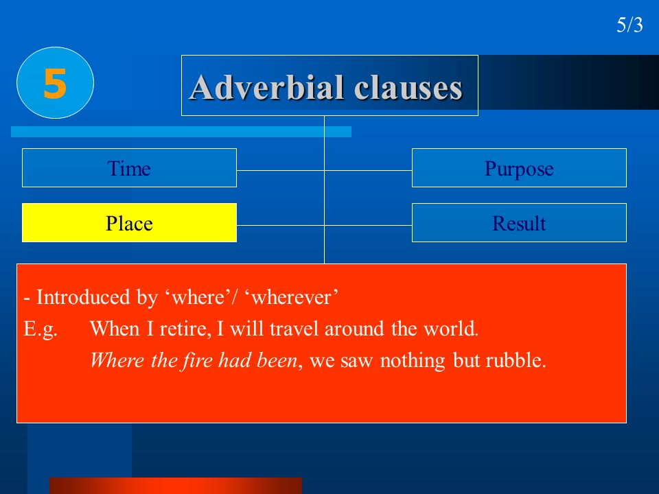 5 Adverbial clauses 5/3 Time Purpose Place Result