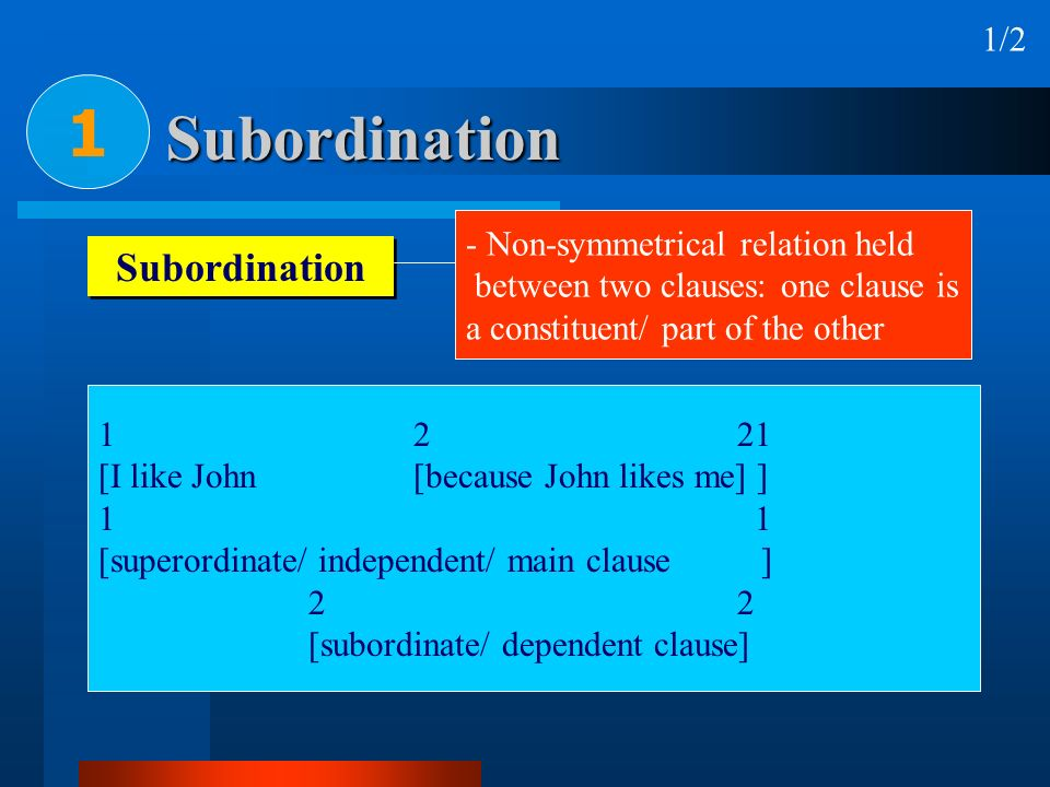 1 Subordination Subordination 1/2 i.e. one clause is