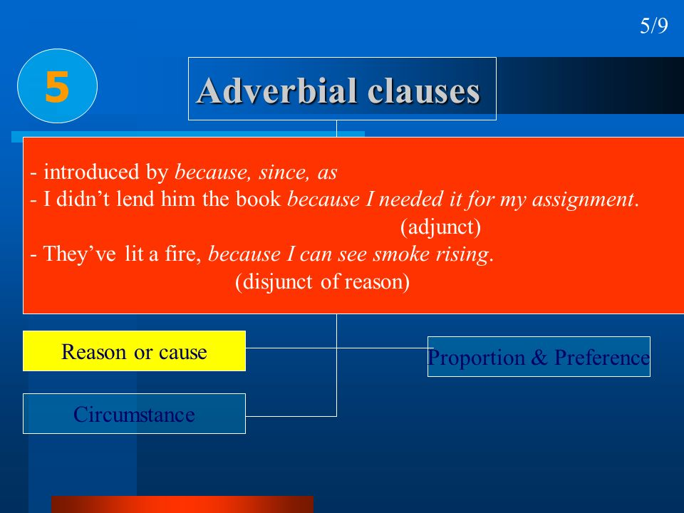 5 Adverbial clauses 5/9 - introduced by because, since, as
