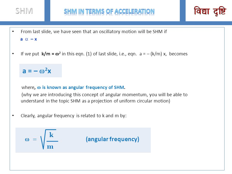 SHM in terms of acceleration