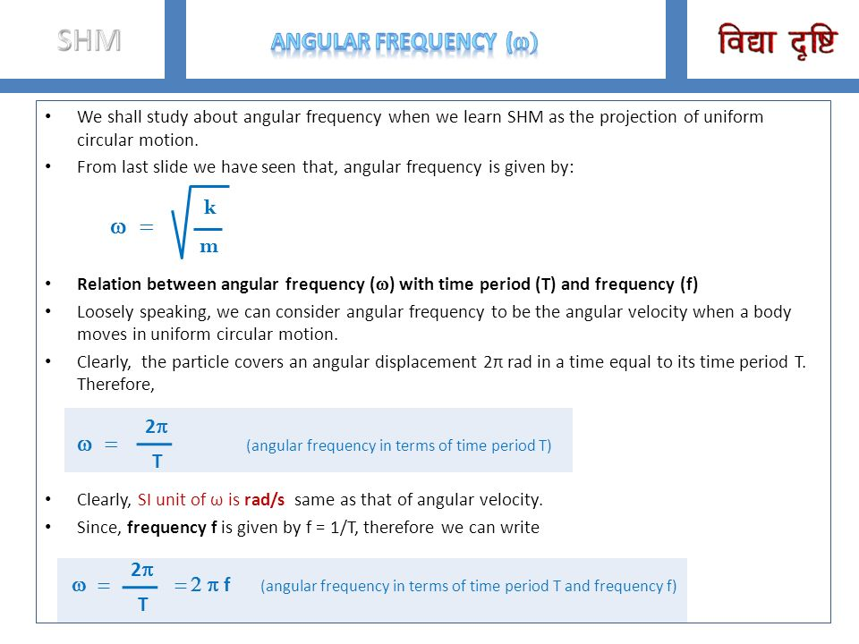SHM Angular frequency (w) w = k