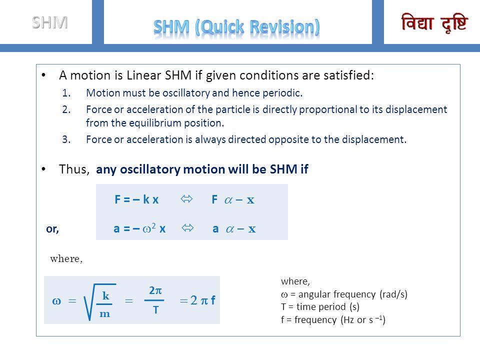 F = – k x  F a – x or, a = – w2 x  a a – x SHM SHM (Quick Revision)