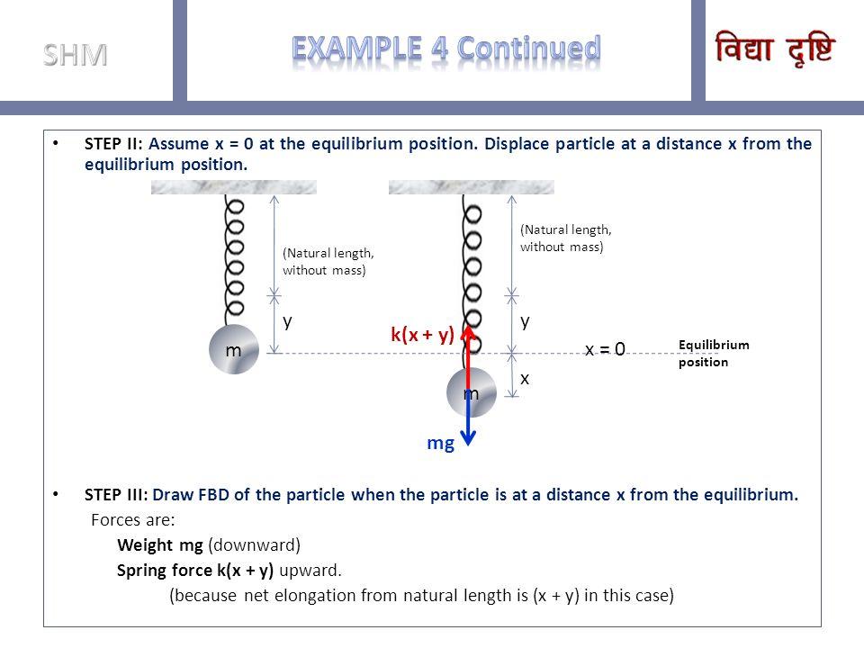 Example 4 Continued SHM m y m y k(x + y) x = 0 x mg