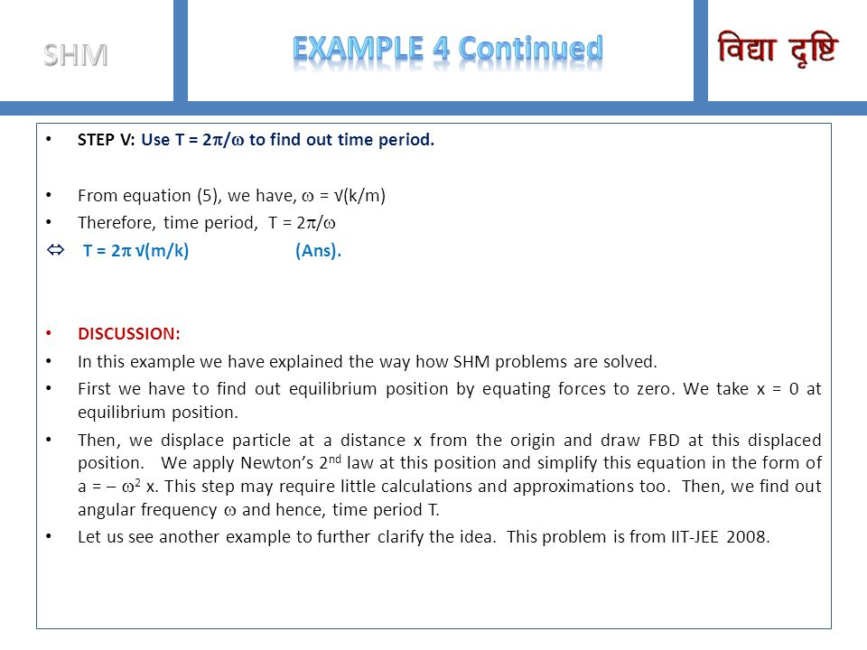 Example 4 Continued SHM STEP V: Use T = 2p/w to find out time period.