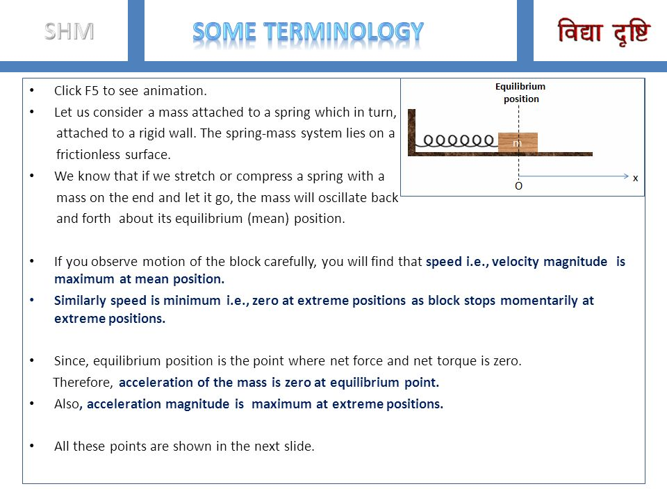 SHM Some Terminology Click F5 to see animation.