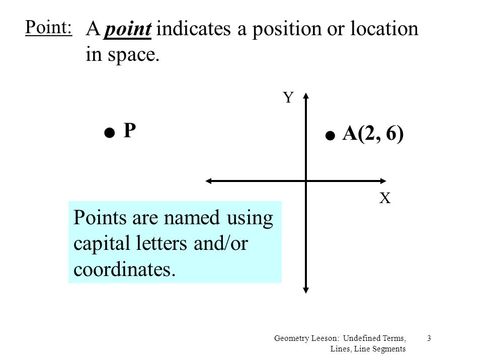 . P . A(2, 6) A point indicates a position or location in space.