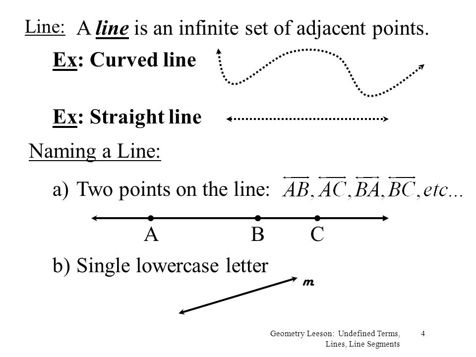 A line is an infinite set of adjacent points.