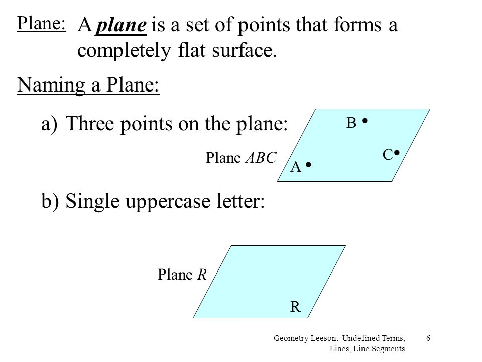 A plane is a set of points that forms a completely flat surface.