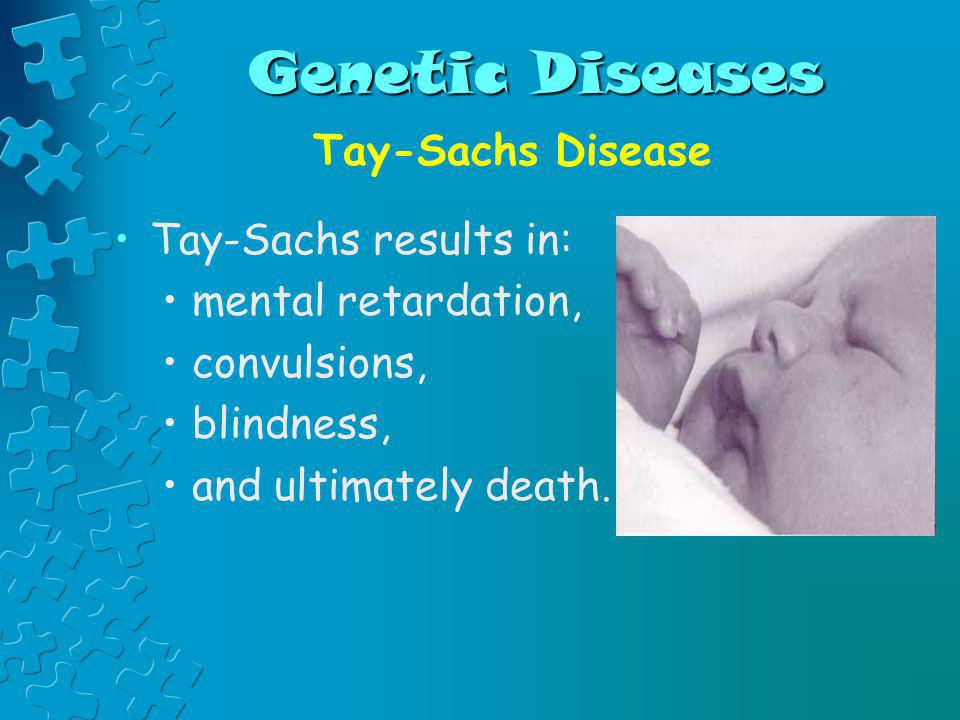 Genetic Diseases Tay-Sachs Disease Tay-Sachs results in: