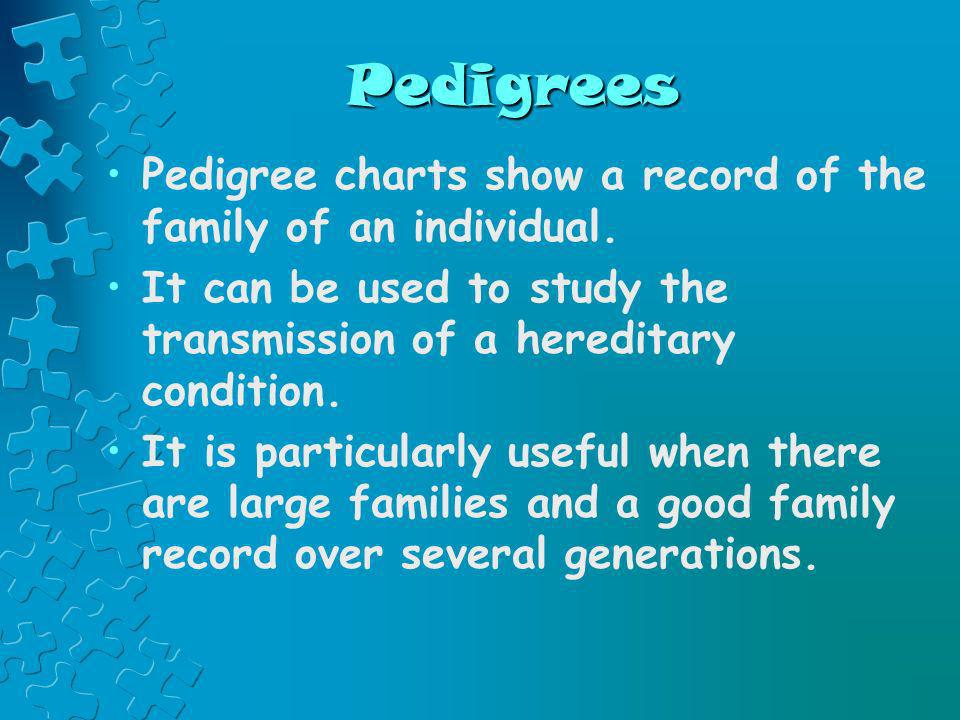 PedigreesPedigree charts show a record of the family of an individual. It can be used to study the transmission of a hereditary condition.
