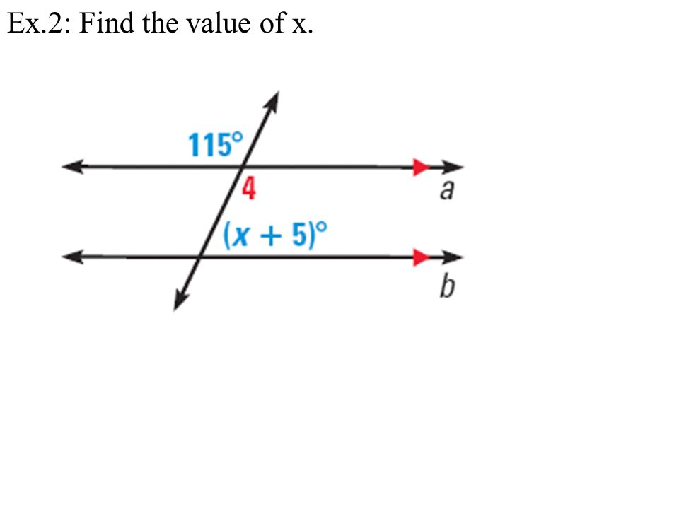 Ex.2: Find the value of x.