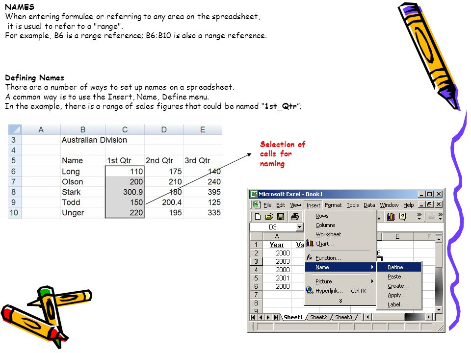 NAMES When entering formulae or referring to any area on the spreadsheet, it is usual to refer to a range .