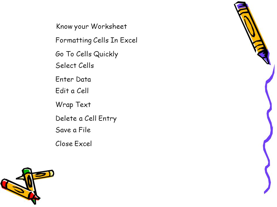 Know your Worksheet Formatting Cells In Excel. Go To Cells Quickly. Select Cells. Enter Data. Edit a Cell.
