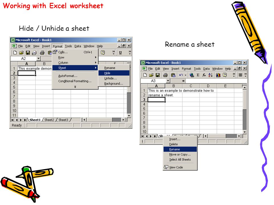 Working with Excel worksheet