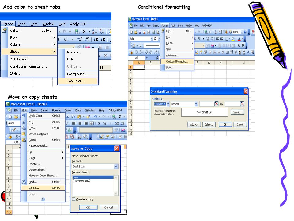 Add color to sheet tabs Conditional formatting Move or copy sheets