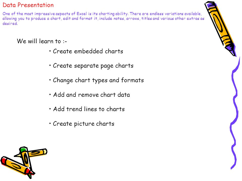• Create embedded charts • Create separate page charts