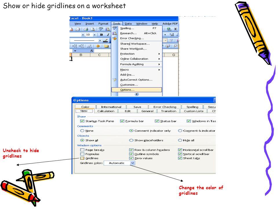 Show or hide gridlines on a worksheet