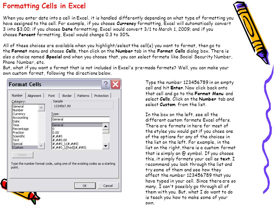 Formatting Cells in Excel