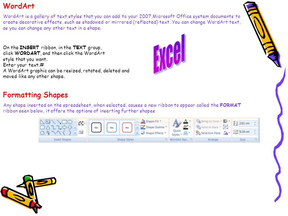Excel WordArt Formatting Shapes