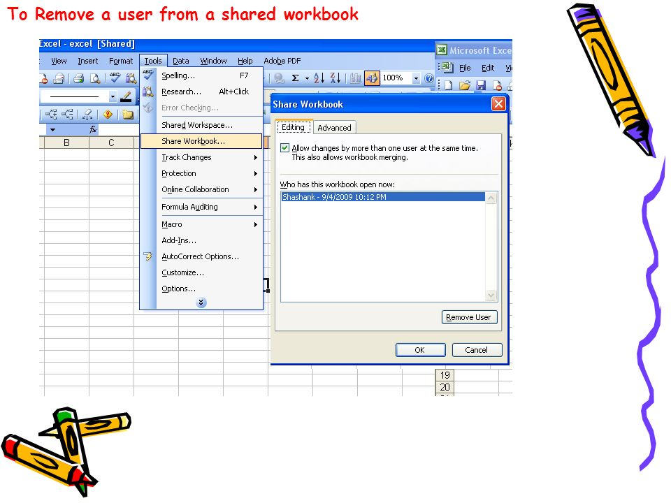 To Remove a user from a shared workbook
