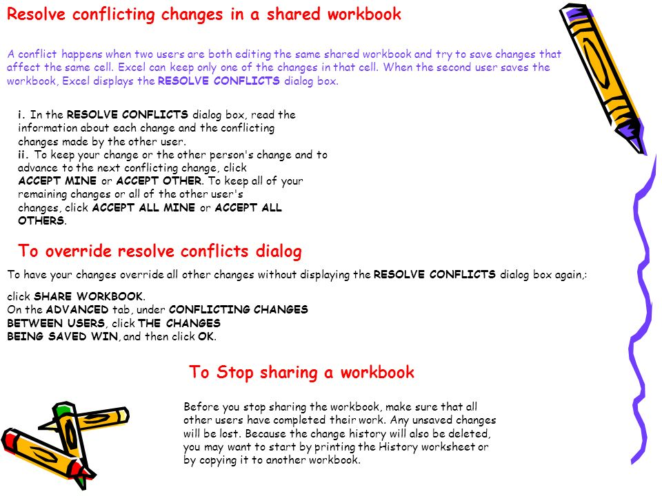 Resolve conflicting changes in a shared workbook