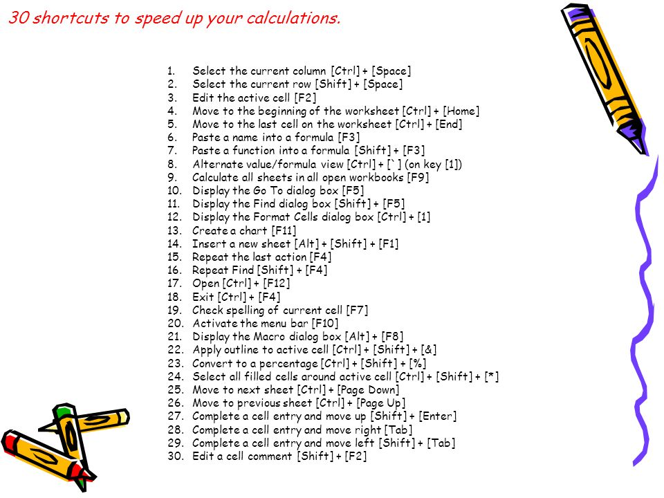 30 shortcuts to speed up your calculations.