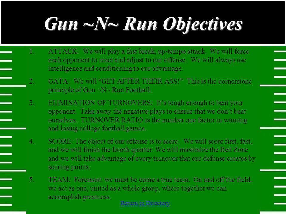 Gun ~N~ Run Objectives