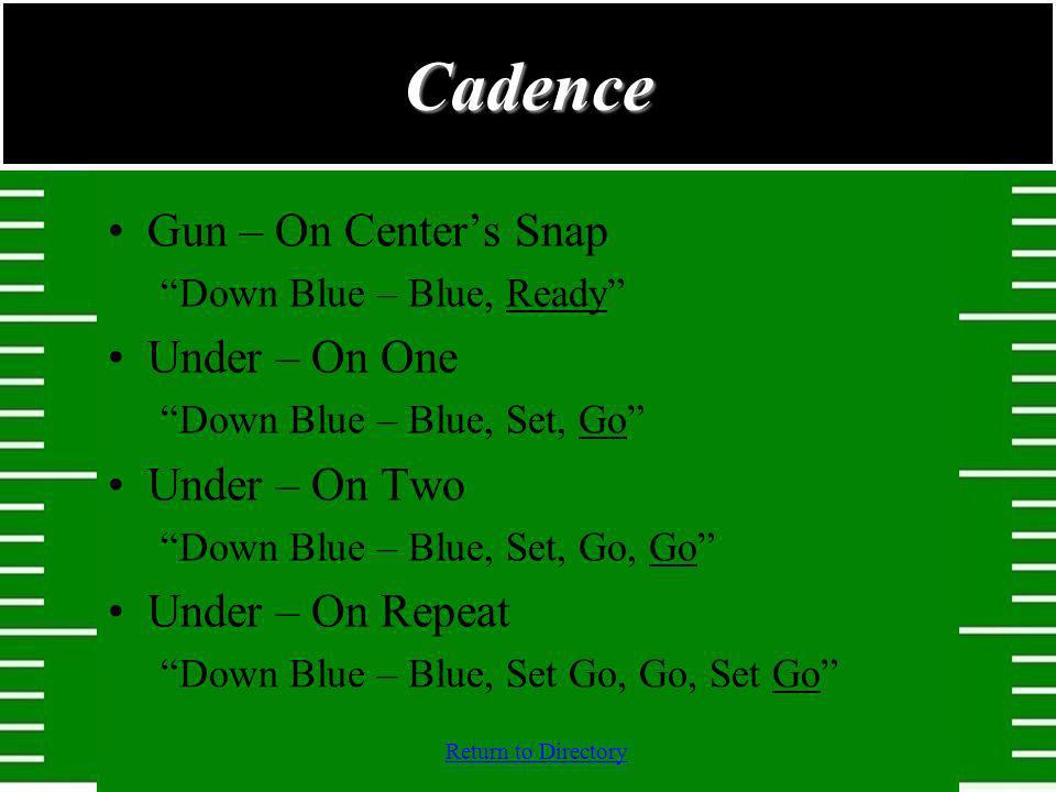 Cadence Gun – On Center's Snap Under – On One Under – On Two