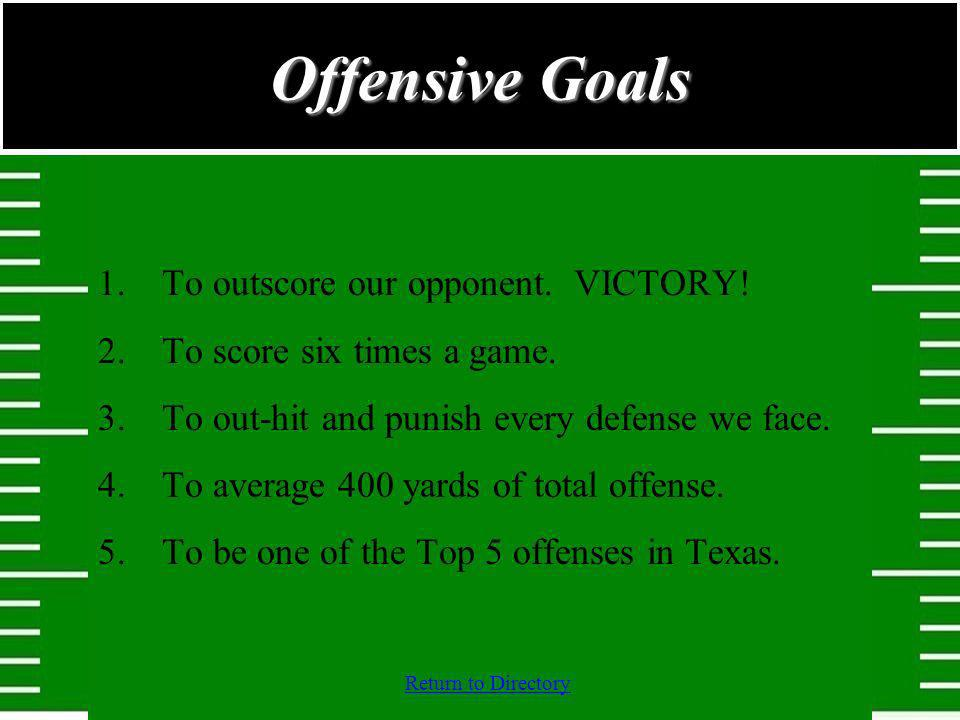 Offensive Goals To outscore our opponent. VICTORY!