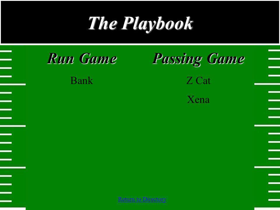 The Playbook Run Game Bank Passing Game Z Cat Xena