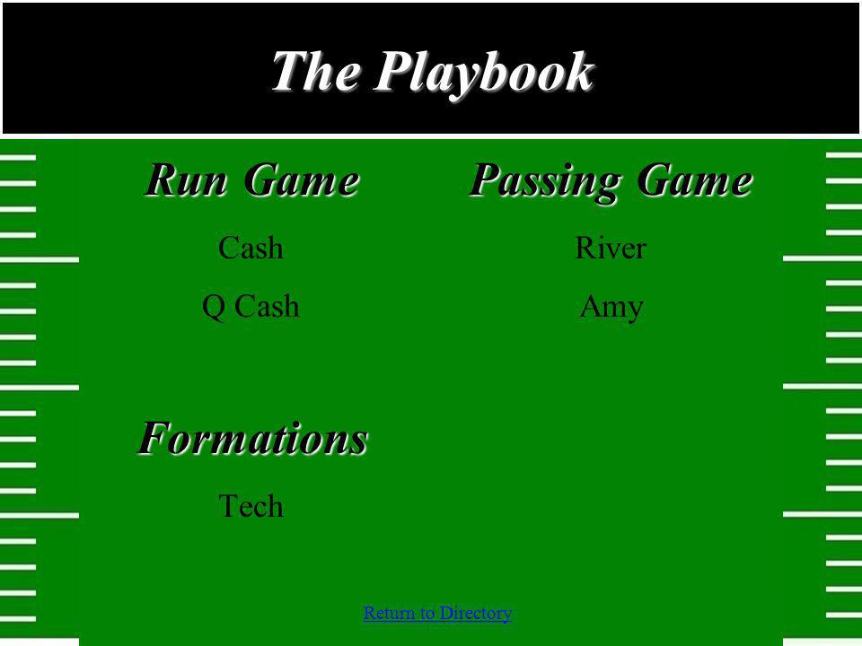 The Playbook Run Game Formations Passing Game Cash Q Cash Tech River