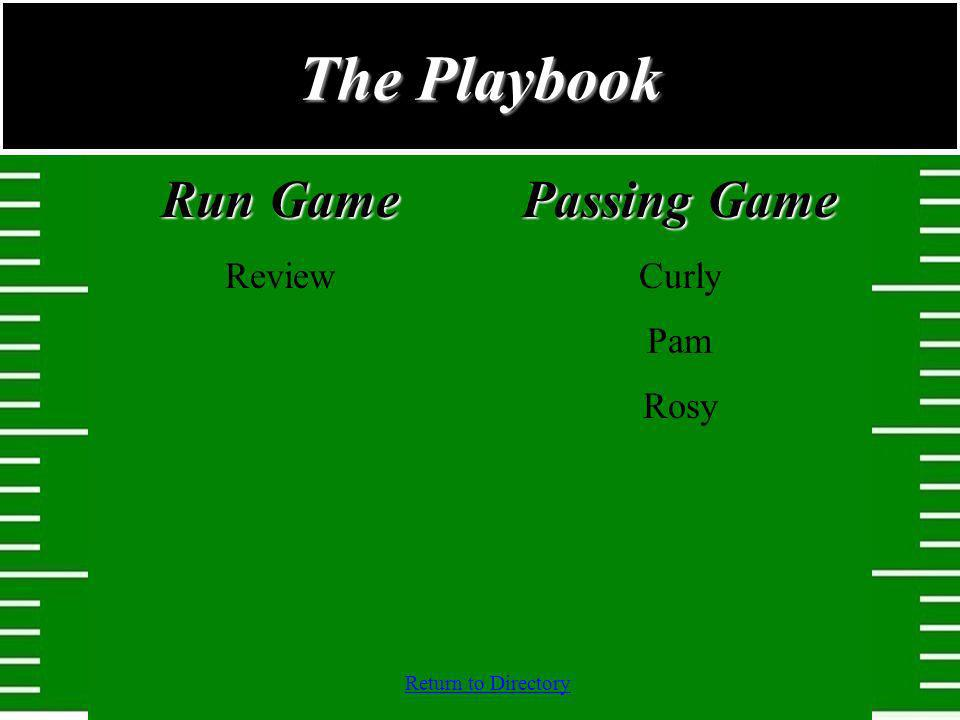 The Playbook Run Game Review Passing Game Curly Pam Rosy