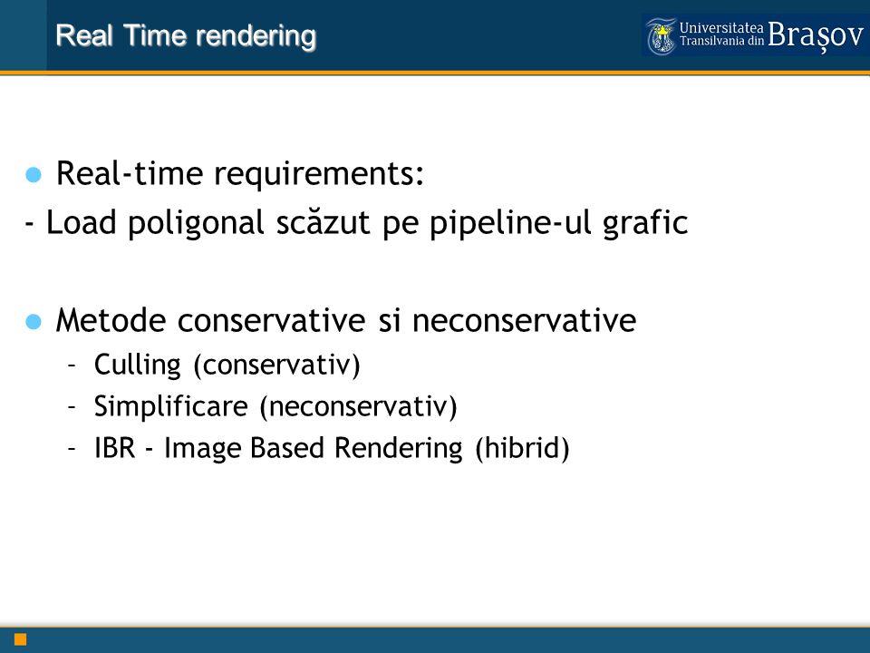 Real-time requirements: - Load poligonal scăzut pe pipeline-ul grafic