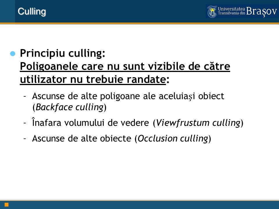 Culling Principiu culling: Poligoanele care nu sunt vizibile de către utilizator nu trebuie randate: