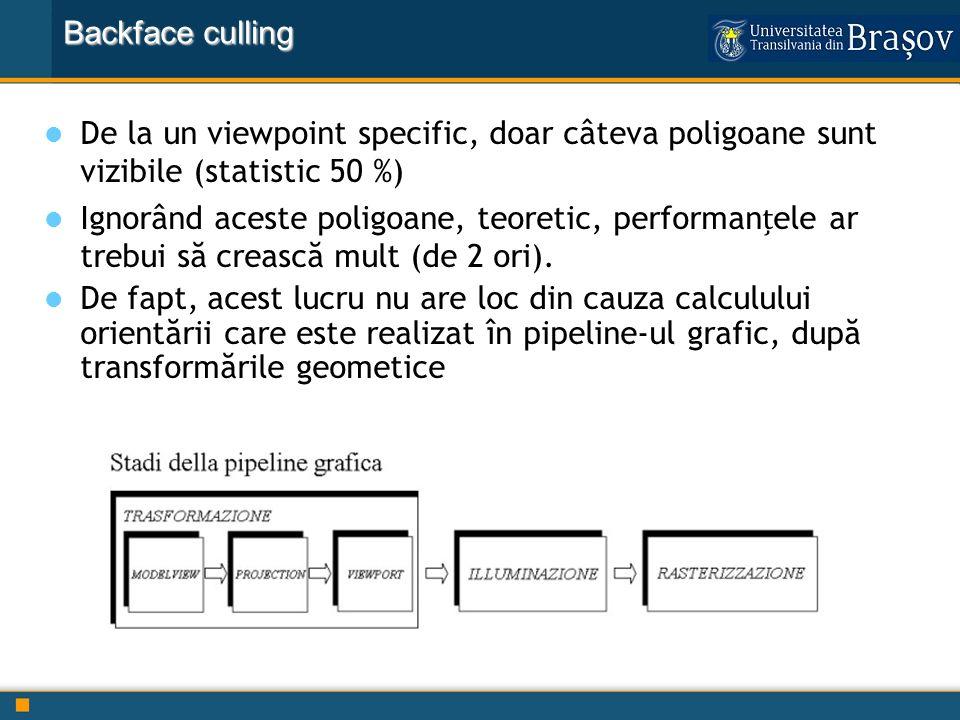 Backface culling De la un viewpoint specific, doar câteva poligoane sunt vizibile (statistic 50 %)