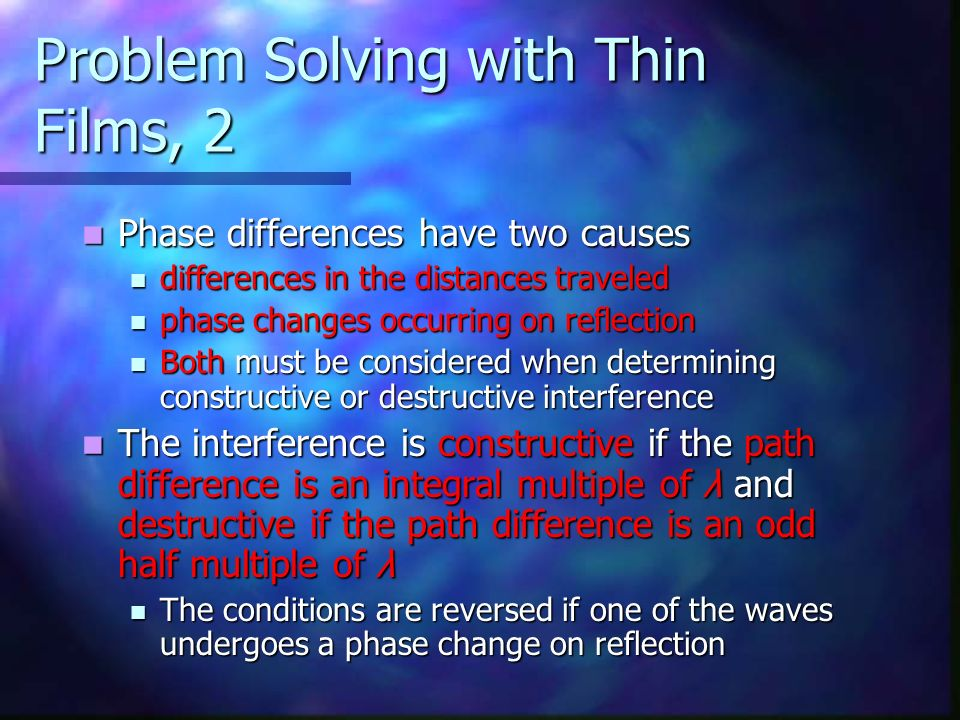 Problem Solving with Thin Films, 2