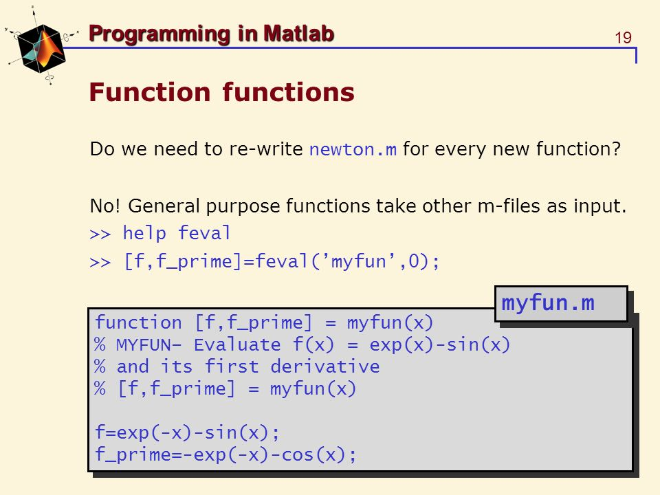 Function functions myfun.m