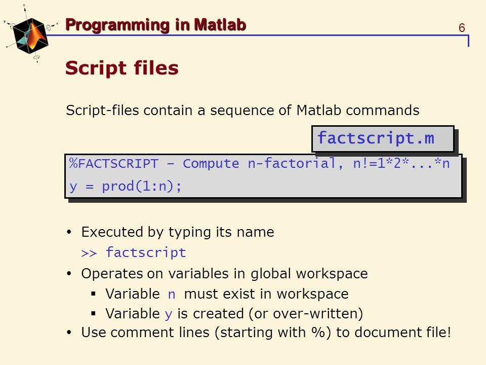 Script files factscript.m