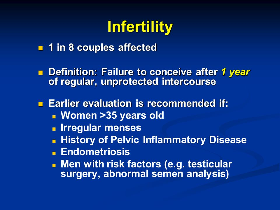 Infertility 1 in 8 couples affected