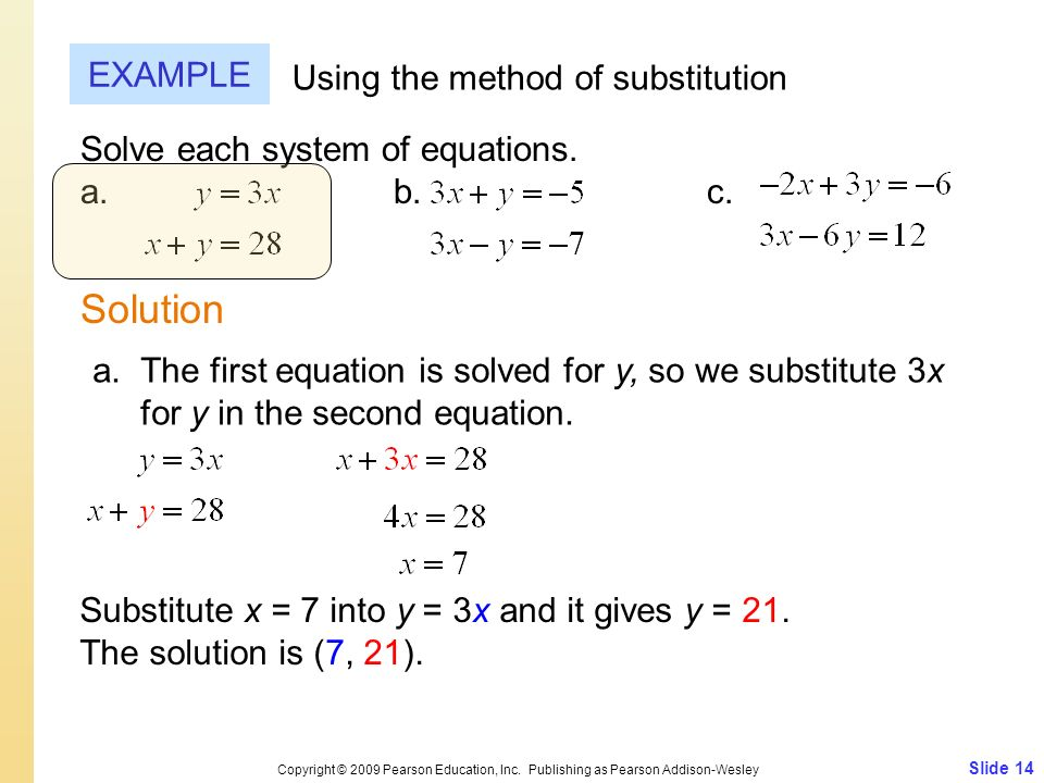 Solution EXAMPLE Using the method of substitution