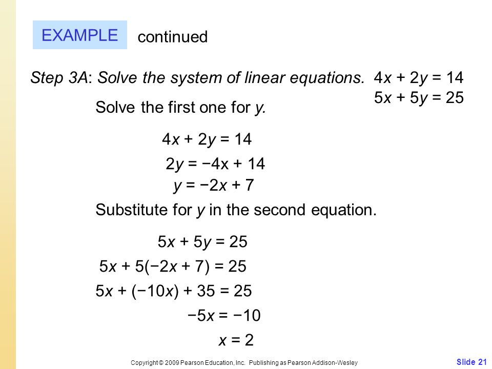 Step 3A: Solve the system of linear equations. 4x + 2y = 14