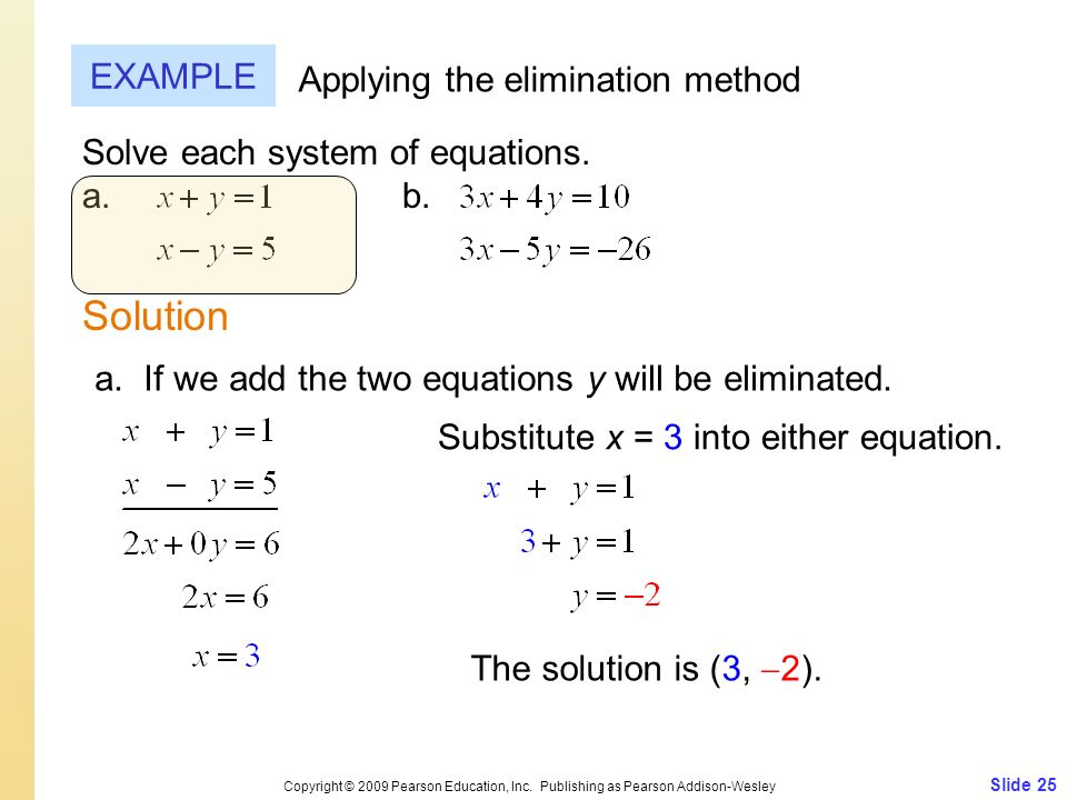 Solution EXAMPLE Applying the elimination method