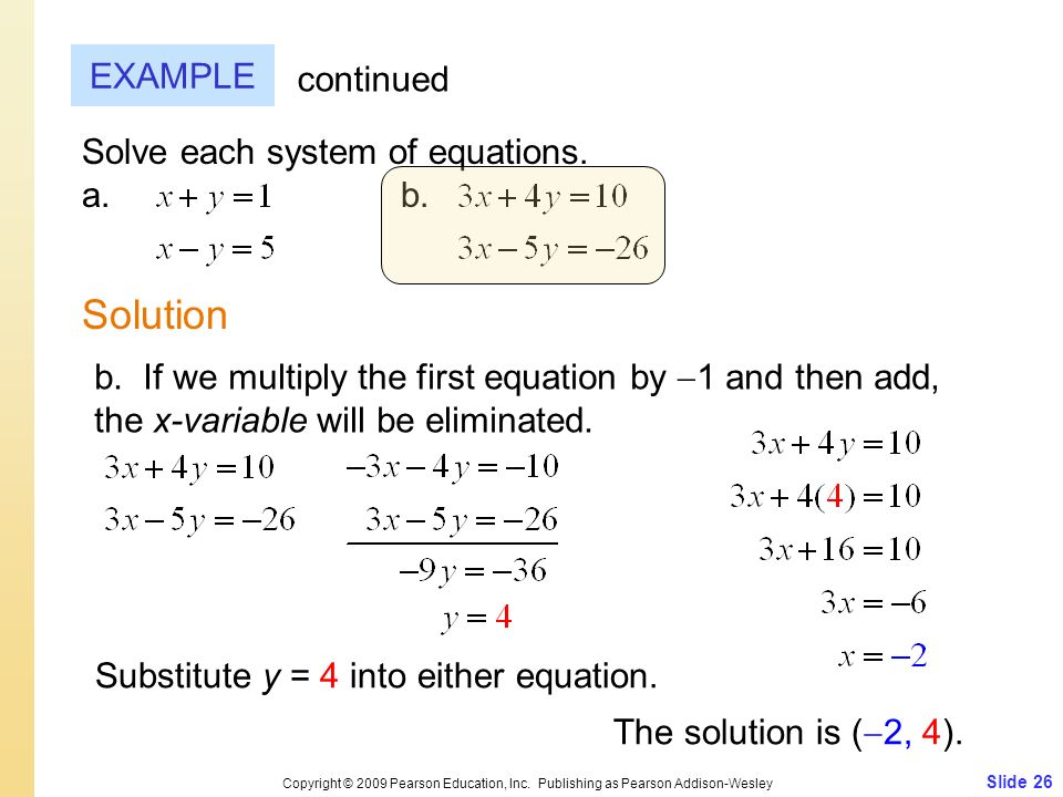 Solution EXAMPLE continued Solve each system of equations. a. b.