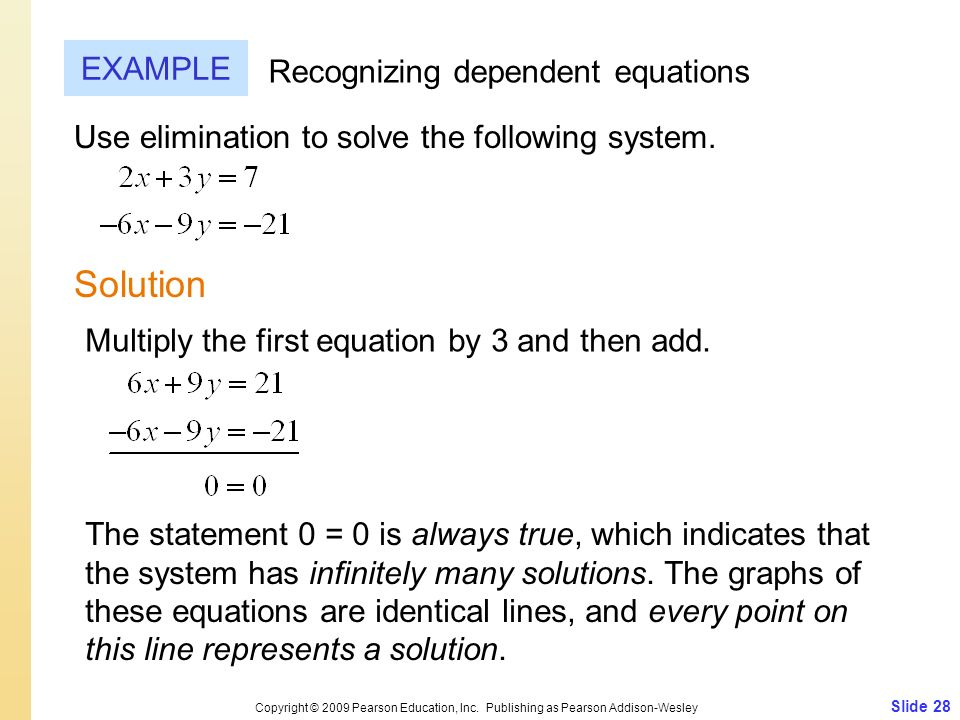 Solution EXAMPLE Recognizing dependent equations