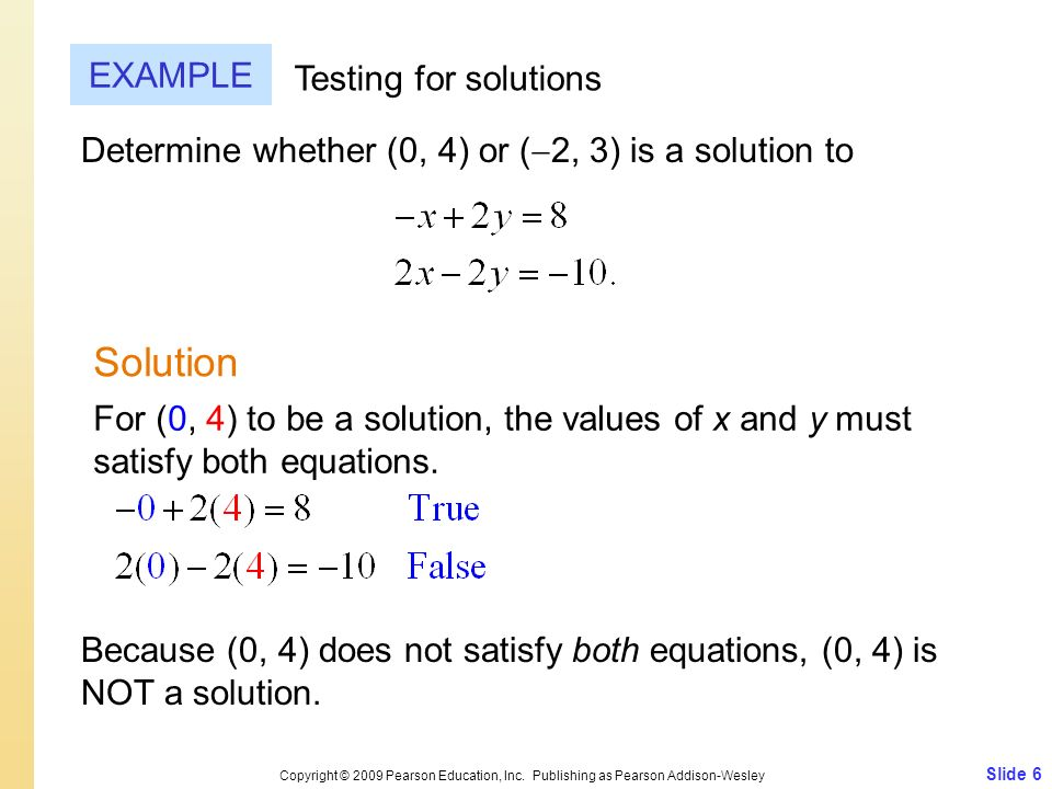 Solution EXAMPLE Testing for solutions