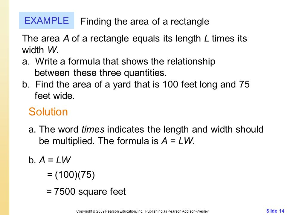 Solution EXAMPLE Finding the area of a rectangle