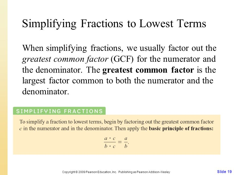 Simplifying Fractions to Lowest Terms