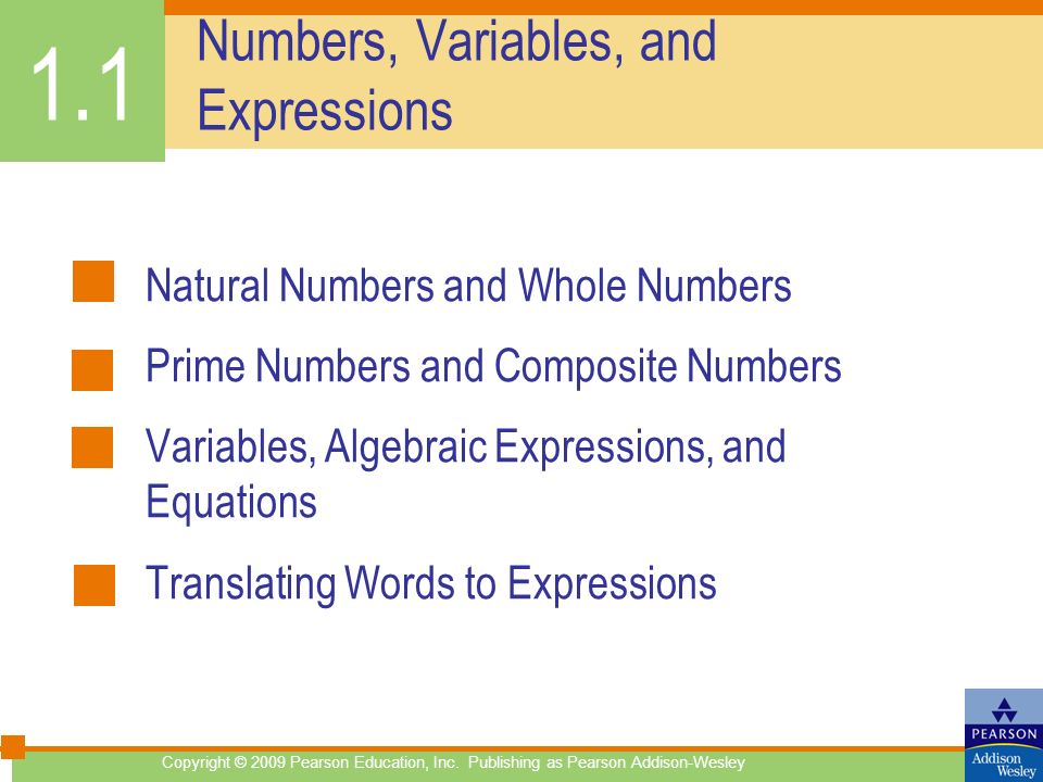 Numbers, Variables, and Expressions