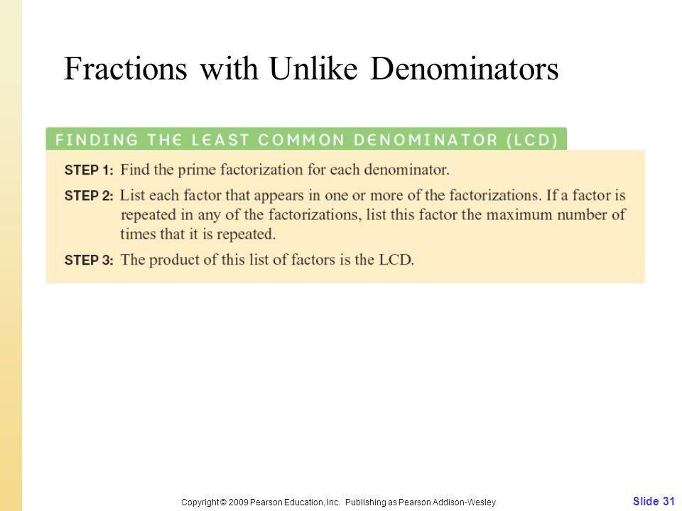 Fractions with Unlike Denominators